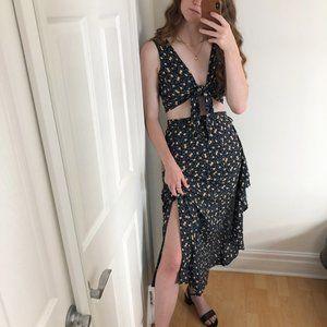 Vintage Two-Piece Mid Skirt Crop Top Floral Set
